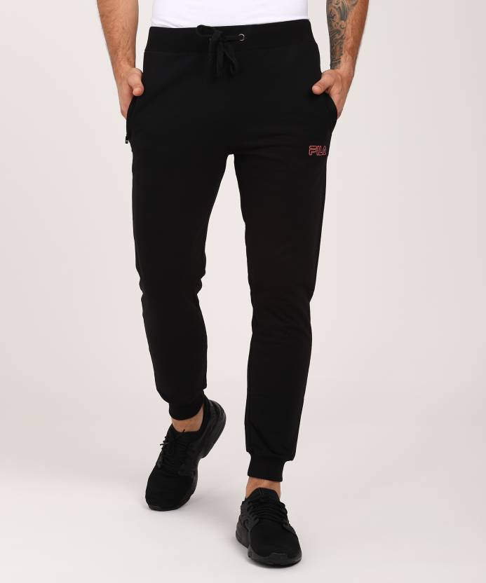 da9084588105 Fila Solid Men s Black Track Pants - Buy Fila Solid Men s Black Track Pants  Online at Best Prices in India