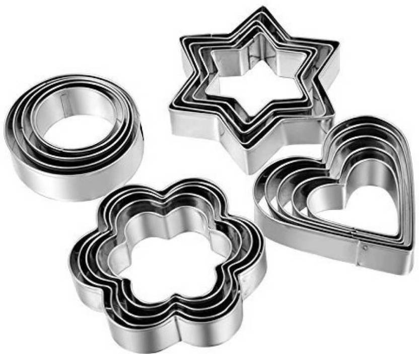 Cpixen 20pcs Set Of Stainless Steel Cookie Cutters Heart Flower
