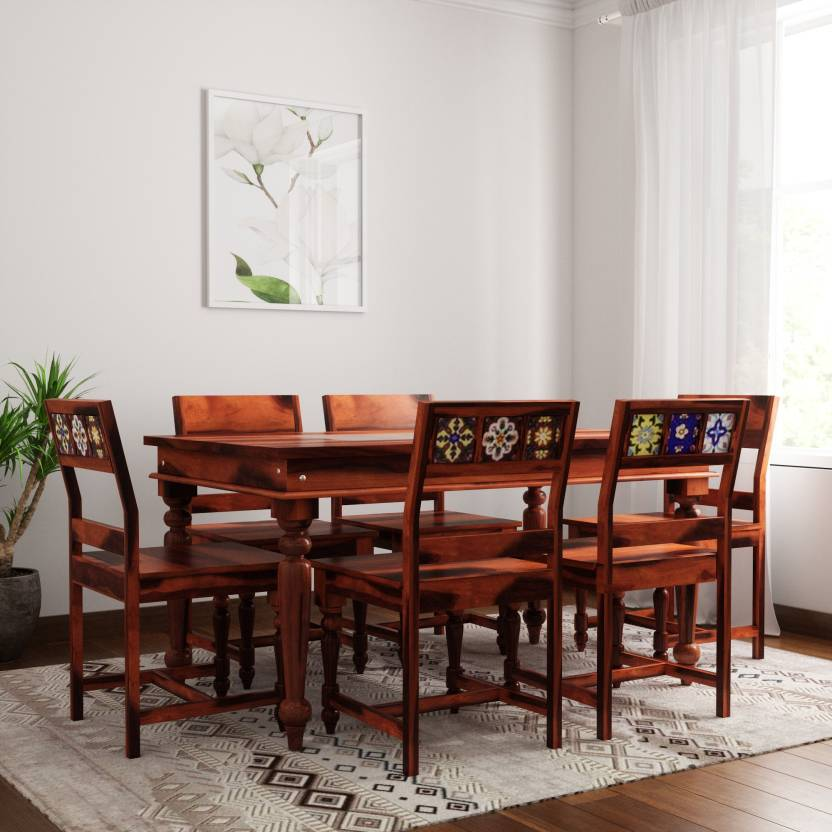 d1ee3d88c79 Induscraft Mozaic Sheesham Solid Wood 6 Seater Dining Set (Finish Color -  Honey Brown)