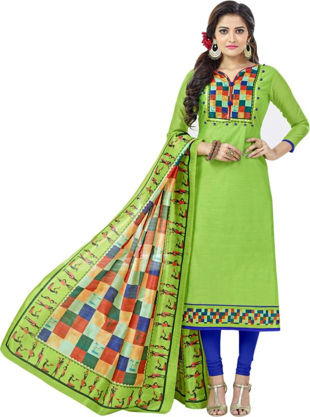 64db8a1abff Blissta Chanderi Printed Salwar Suit Dupatta Material Price in India ...