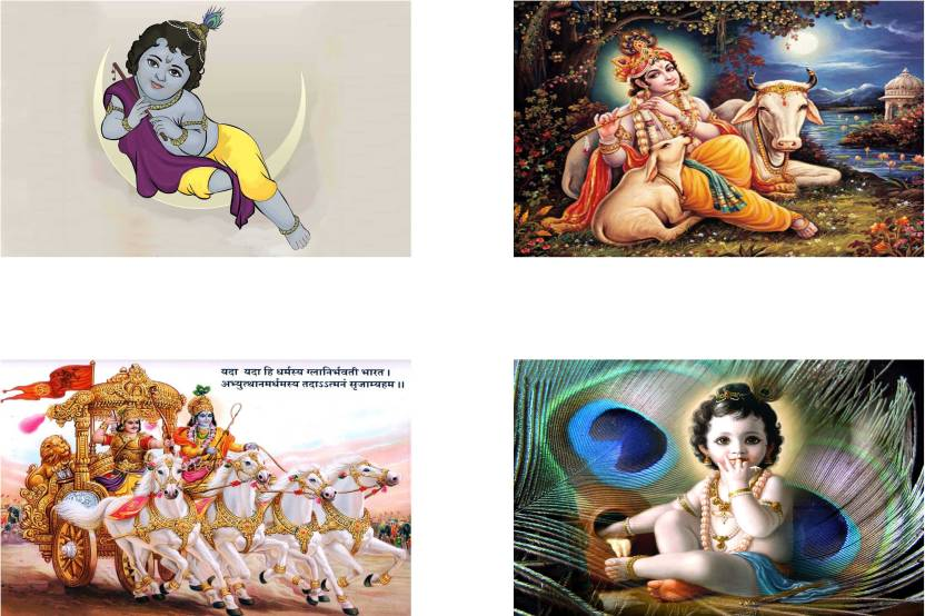 Lord Krishna Combo Poster set of Four Posters - bal krishna poster