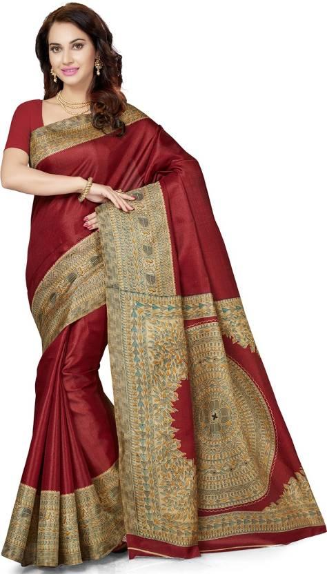 f74acdd6d1398 Buy Ishin Printed Kalamkari Silk Maroon Sarees Online   Best Price ...