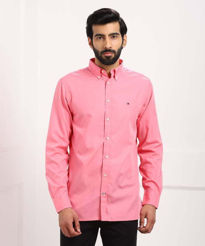 2faf59efb0 Tommy Hilfiger Men s Solid Casual Pink Shirt - Buy Pink Tommy Hilfiger  Men s Solid Casual Pink Shirt Online at Best Prices in India