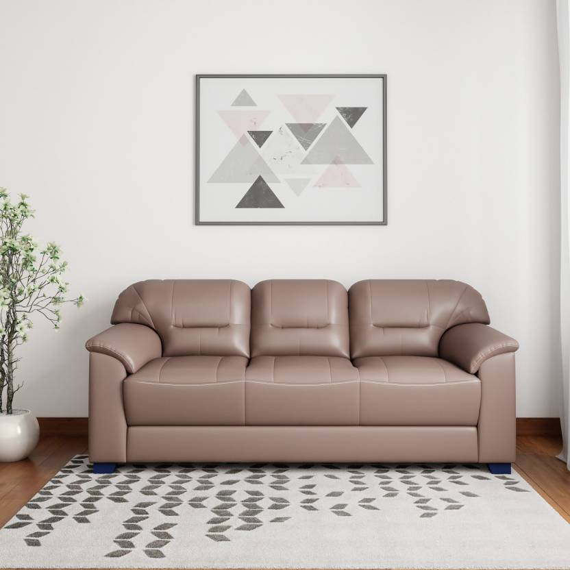 Muebles Casa Croma Leatherette 3 Seater Sofa  (Finish Color – Tan Brown) at Flipkart ₹12,599