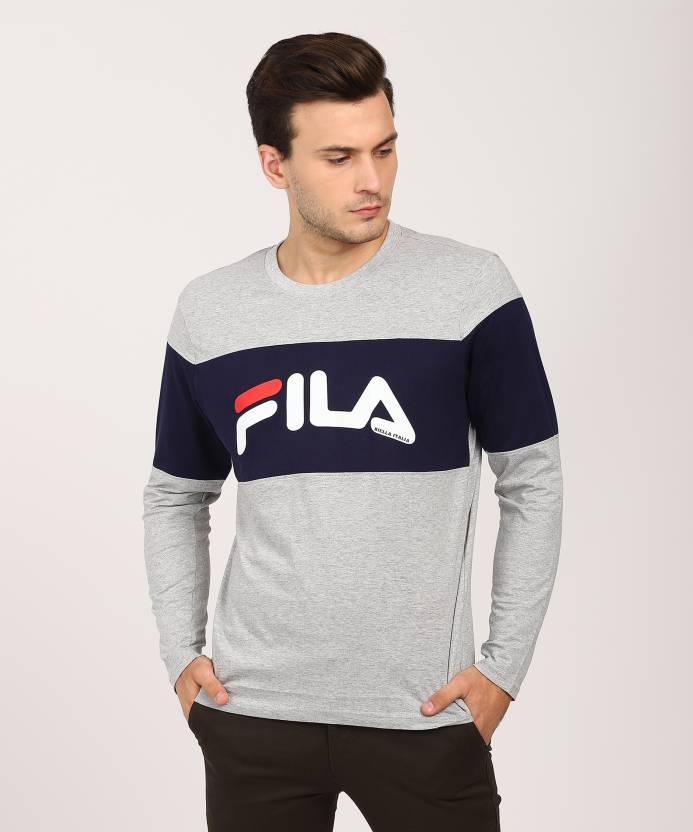 bd758ff52aefd Fila Printed Men's Round Neck Grey T-Shirt - Buy Fila Printed Men's Round  Neck Grey T-Shirt Online at Best Prices in India | Flipkart.com