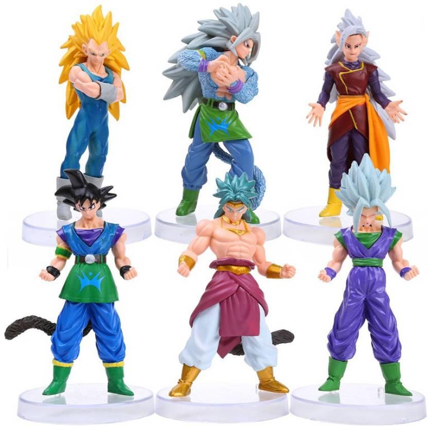 93858e30b3ff Toy Mela DBZ Dragon Ball Z 6 Pcs. / Set Broly, Goku, Super Saiyan Vegeta,  SS4 Goku, SS4 Gohan Action Figure With Stand (Multicolor)