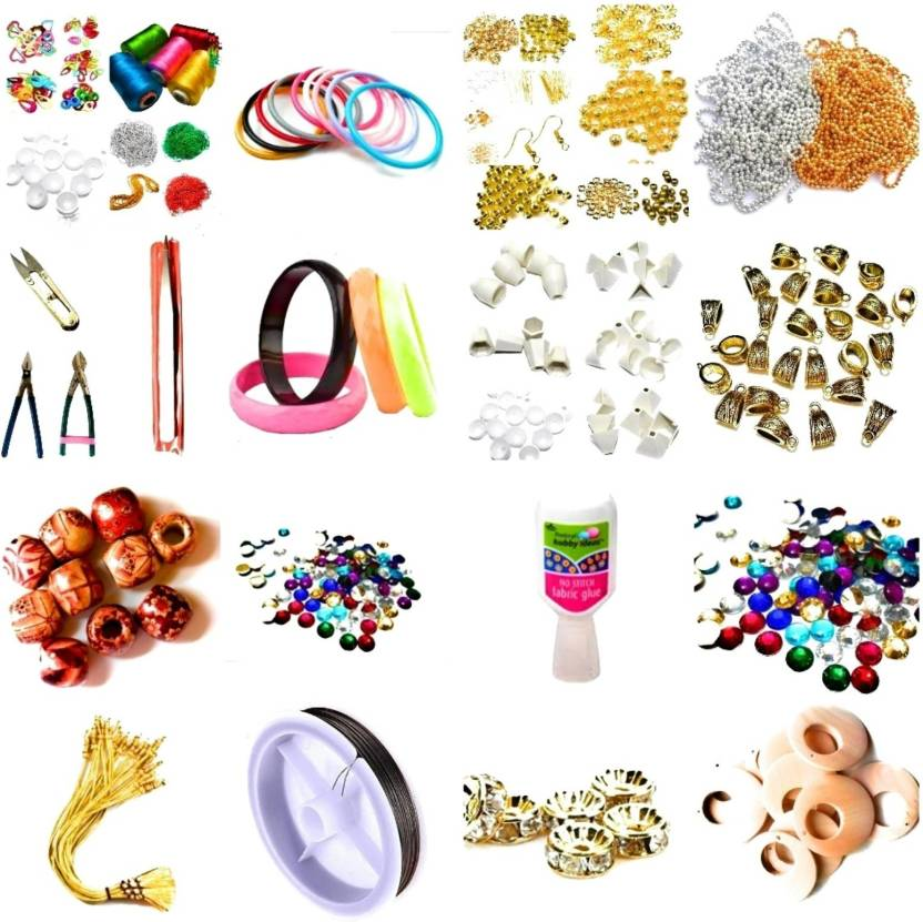 c67966f02c Medonna shoppe Silk thread jewellery making tools kit with instruction book  for learners, beginners - Silk thread jewellery making tools kit with ...
