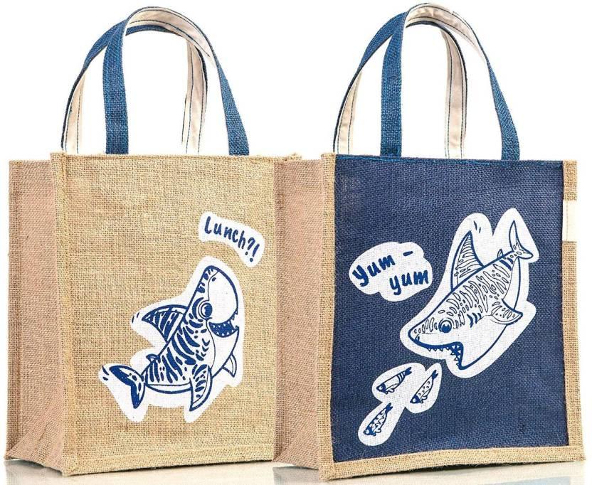 150da4b34d2 H&B Jute Bag / Jute Lunch bag / Tiffin Bag/ handbag Waterproof Lunch Bag ( Blue, 10 L)