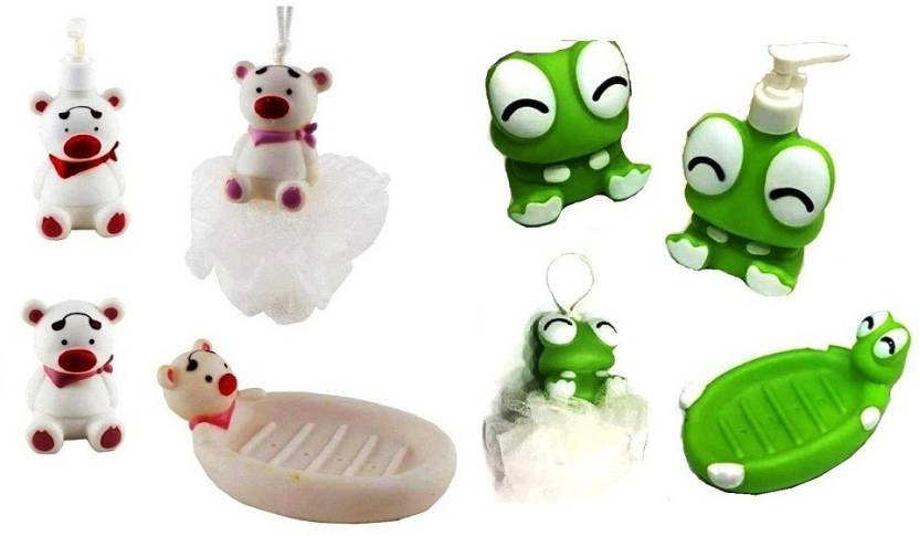 S2KCrafts S2KC-1595 kids bathroom set Bath Toy {Bear & Cutie Frog} Bath