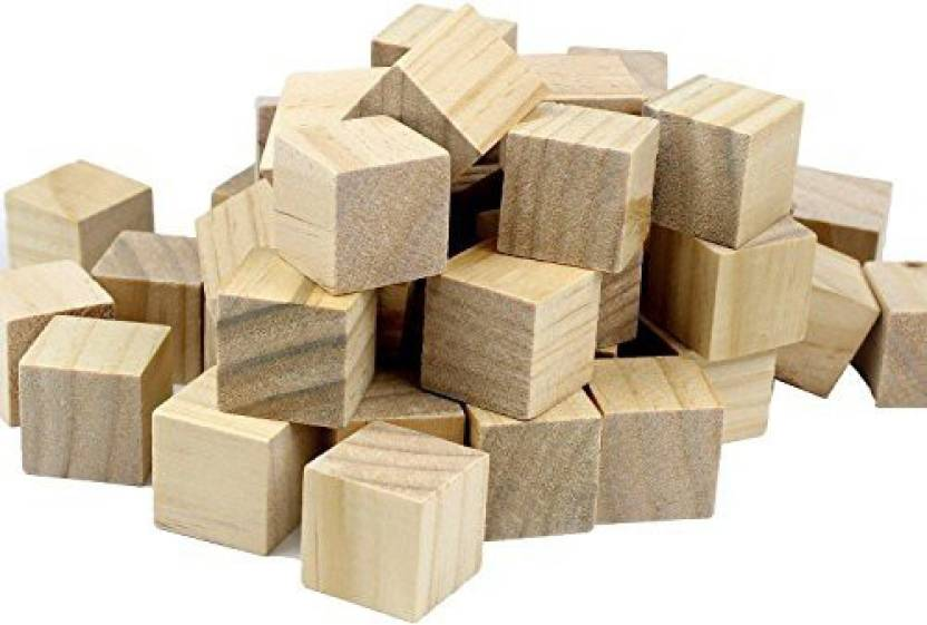 Genrc Flycotm 100pcs 1 Inch Wood Floor Cubes Natural Unfinished