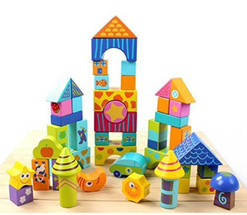 Genrc Kids Wooden 50Pcs Scenario Building Blocks Toy Set Kids Developmental Logs Toy Set Children Early Learning Toy (Multicolor)