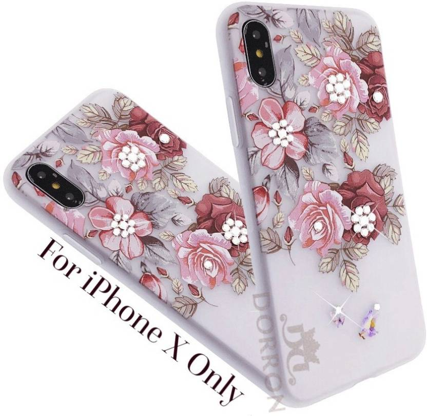 2448c8b570e65f DORRON Back Cover for iPhone X / iPhone 10 3d Floral Red Rose Print Bling  Rhinestones Stylish Design For Girls (Red, Shock Proof, Flexible Case)