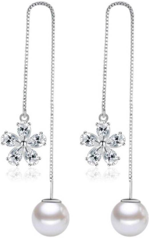 d075590fcf387 Flipkart.com - Buy MYKI Classic Flower Pearl Long Zircon Earring For ...