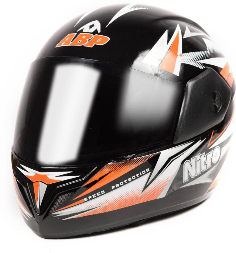 Abp Nitro Racing Motorbike Helmet Black With Orange Stripes Glossy