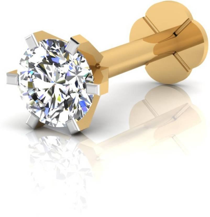 5772b2443 IskiUski Single Solitaire Nose Pin 18kt Diamond Yellow Gold Stud Price in  India - Buy IskiUski Single Solitaire Nose Pin 18kt Diamond Yellow Gold Stud  ...