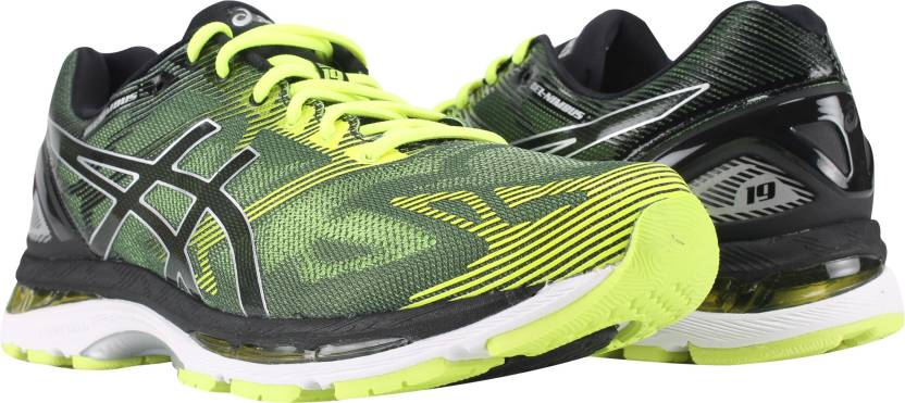 new products af4df f32e1 Asics Nimbus 19 Black Green Running Shoes For Men