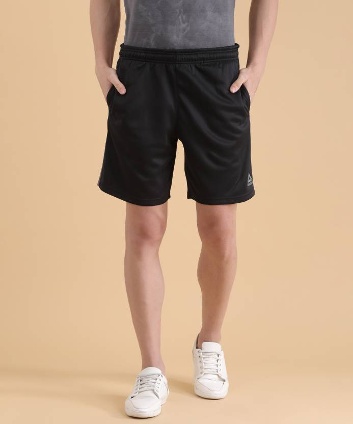 d3afb2334a09 REEBOK Solid Men Black Sports Shorts - Buy REEBOK Solid Men Black Sports  Shorts Online at Best Prices in India