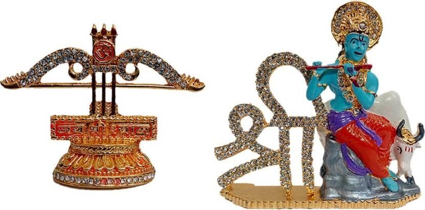 b59a827a8 FABZONE Combo of 2 Shri Shayam Dhanush   Krishna Statue God Bal Gopal Car  Dashboard Spiritual Vastu Pooja Figurine Sculpture   Designer Stone Studded  Gau ...