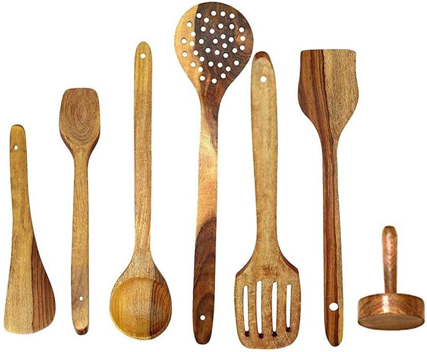 Green Wood Handmade Wooden Cooking Spoons And Serving Spoon Set Of7 Non Stick Kitchen Utensil Wooden Wooden Spoon Set