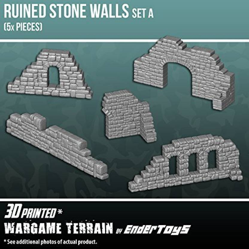 Genrc Ruined Stone Walls Set A, Terrain Scenery for Tabletop 28mm
