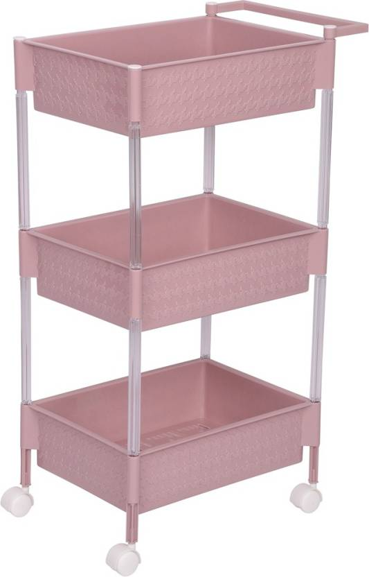 Urbancart Multi Purpose Plastic Kitchen Trolley For Fruits Vegetables Storage Organizer With Wheels Peach 3 Tier Price In