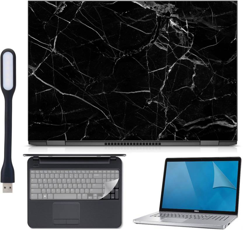 Ramiya 4in1 Laptop skin Combo Kit-black marble with Laptop