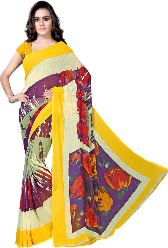 465819d2cfdc7 Buy Sonu Creation Printed Bollywood Georgette Yellow Sarees Online ...