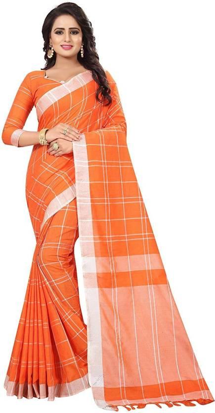 b3f96d3499a1b9 Buy RAJESHWAR FASHION Striped Fashion Linen Orange Sarees Online ...