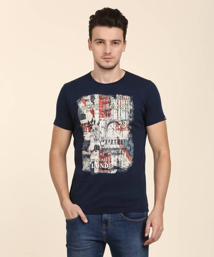 727ee1fab6 Pepe Jeans Printed Men's Round Neck Dark Blue T-Shirt - Buy DK-DENIM ...