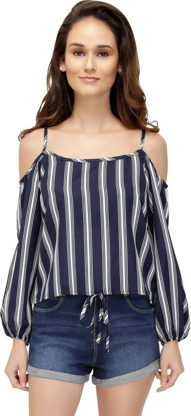 db8b95312c036d Chimpaaanzee Casual Cold Shoulder Striped Women Dark Blue Top. Home ·  Clothing