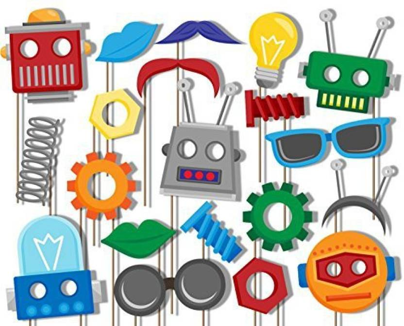 Birthday Galore Robot Photo Booth Props Kit - 20 Pack Party