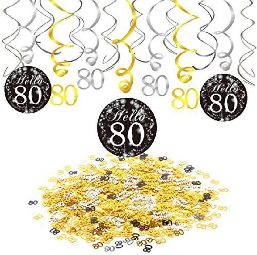 Konsait 80th Birthday Party Decorations Hanging Swirl Black And Gold 15 Counts Happy Birthda