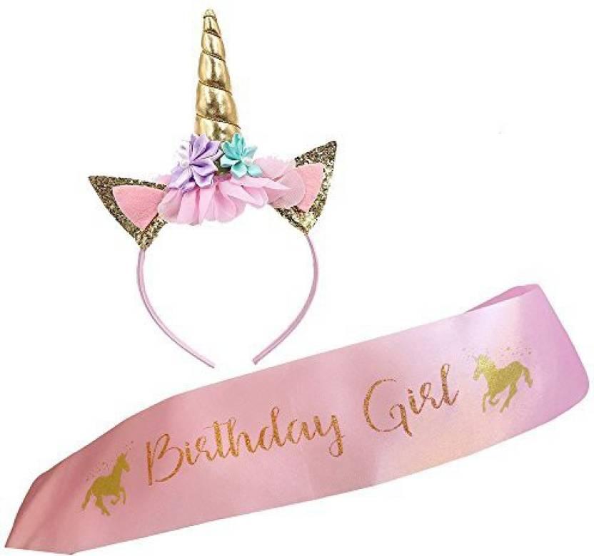 f8395612 Xplanet Unicorn Headband and Birthday Girl Sash Set, Gold Glitter Unicorn  Horn & Pink Satin Sash for Unicorn Birthday Girl Set Happy Bir - Unicorn  Headband ...