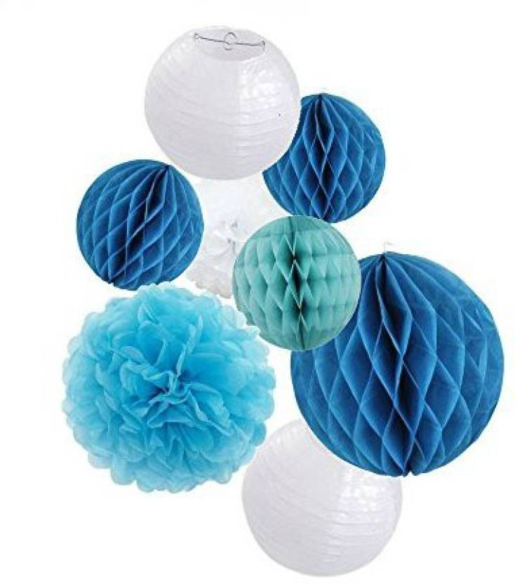 Sogorge Party Decoration Kit Blue Tissue Paper Pom Poms Flowers Papers Lanterns Circle Garland Birthday Wedding Christening Frozen Theme - Party Decoration ...