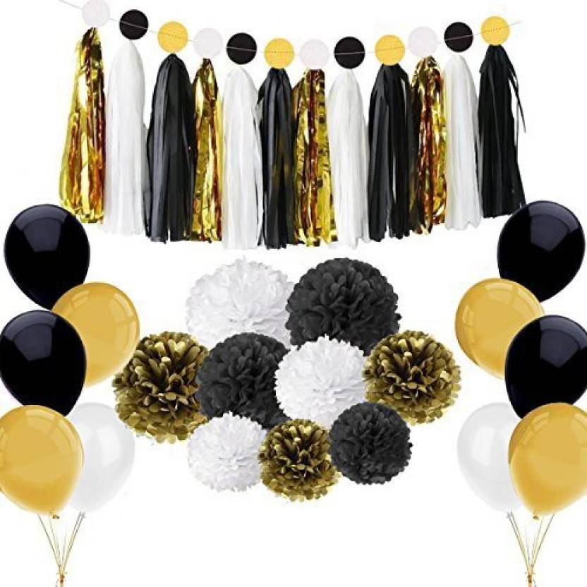 Sogorge 86 Pcs Black And Gold Party Decorations Kit Birthday Supplies For Adults 25th 30th 40th 50th 55th 60th 70th