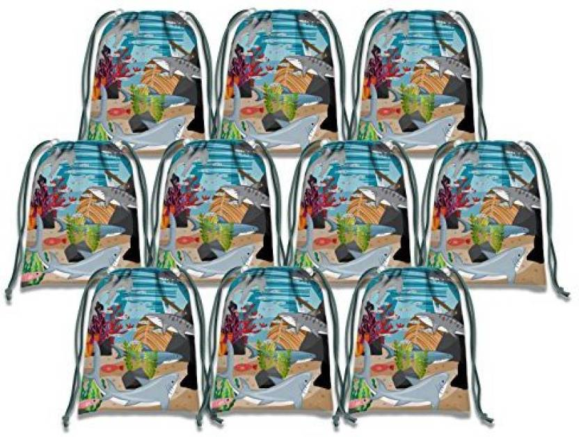 Birthday Galore Shark Drawstring Bags Kids Party Supplies Favor 10 Pack