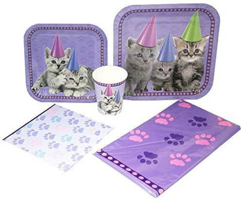 Blue Orchards Kitten Deluxe Party Packs 70 Pieces 16 Guests Decorations Cat Birthday Supplies
