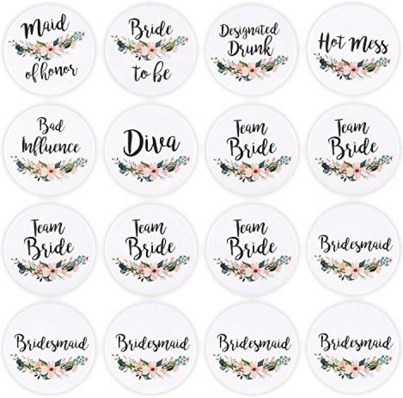 Blue Panda 16 Pack Bridal Party Pins Wedding Party Buttons
