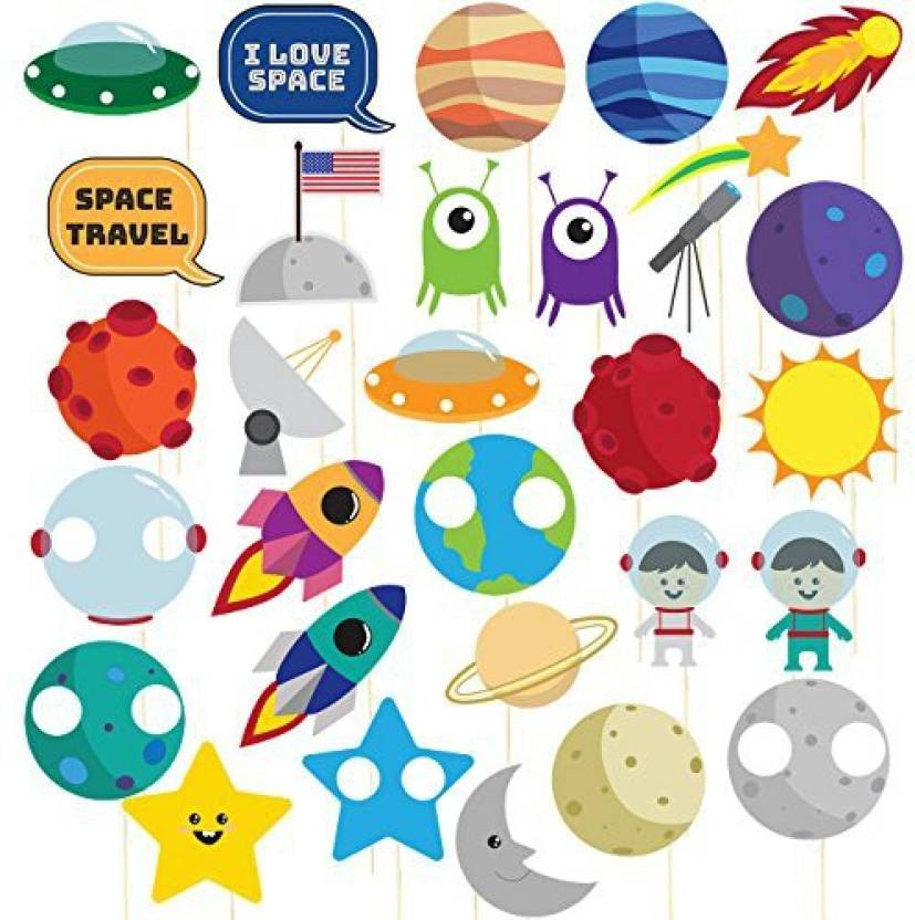 Blue Panda Space Photo Booth Props 30 Pack Pre Assembled Outer