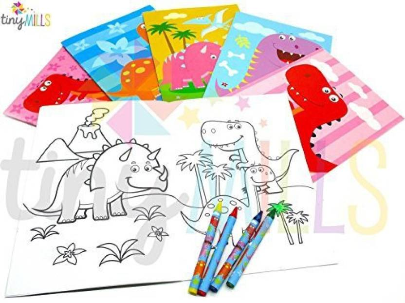 Tinymills Dinosaurs Coloring Books With Crayons Party Favors