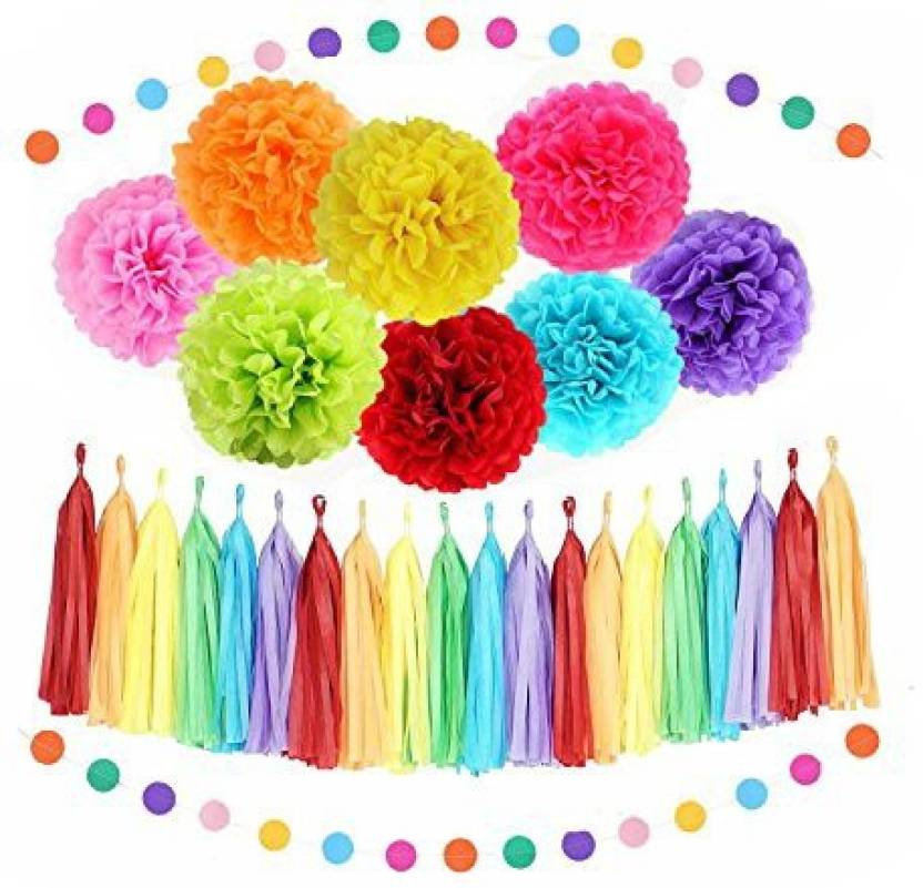Sopeace Rainbow Party Decoration Kit Tissue Paper Pom Poms Flowers Papers Lanterns Circle Garland Multi Color Theme Birthday Wedding Chr - Rainbow Party ...