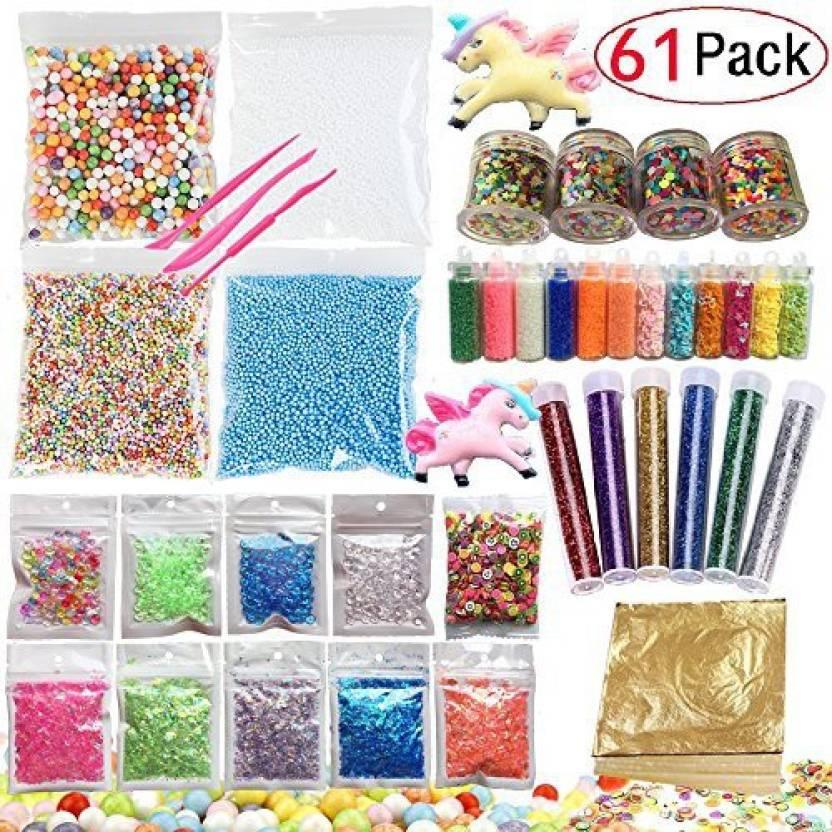GONGYIHONG 61 Pack Slime Making Kits Supplies,Gold Leaf,Foam