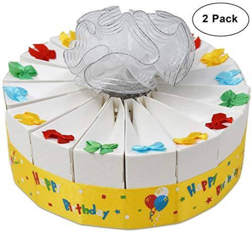 Gift Boutique 1 Tier Happy Birthday Favor Bags Cake Kit 2 Pack Includes 20 Boxes White Party Crafts Supplies Decorations Table