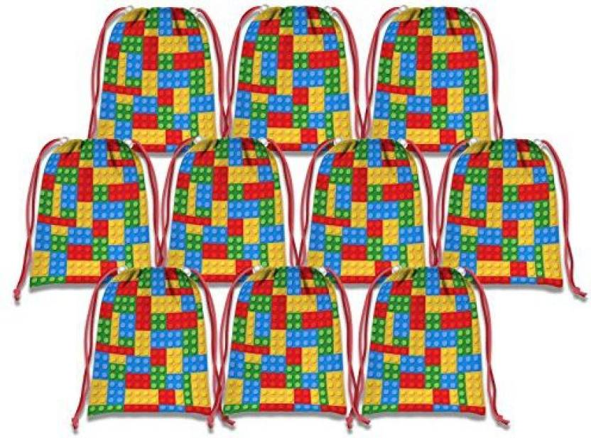 Birthday Galore Building Blocks Drawstring Bags Kids Party Supplies Favor 10 Pack