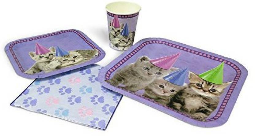 Blue Orchards Kitten Standard Party Packs 65 Pieces 16 Guests Supplies Cat Birthday Decorations
