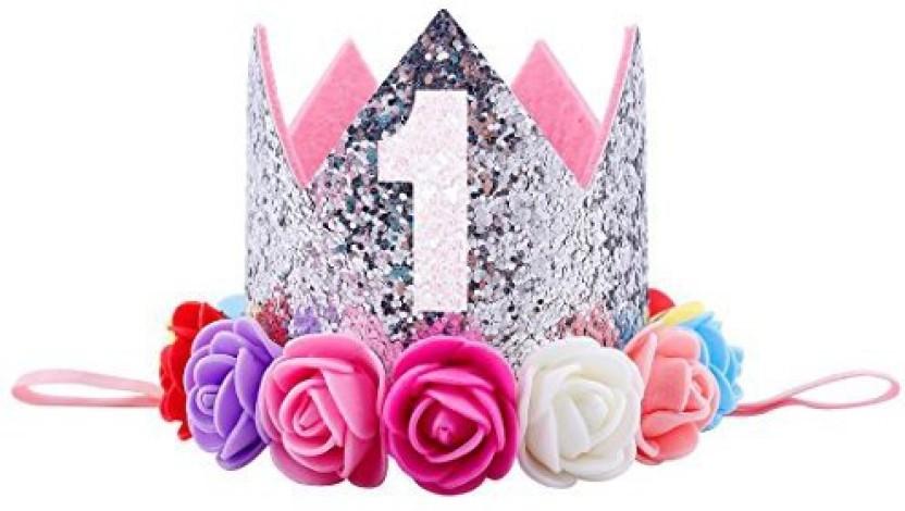 SODIAL Flower Crown Newborn Headband Gold Birthday Crown 1 Year Number Priness Style Birthday Hat Baby Hair Accessory