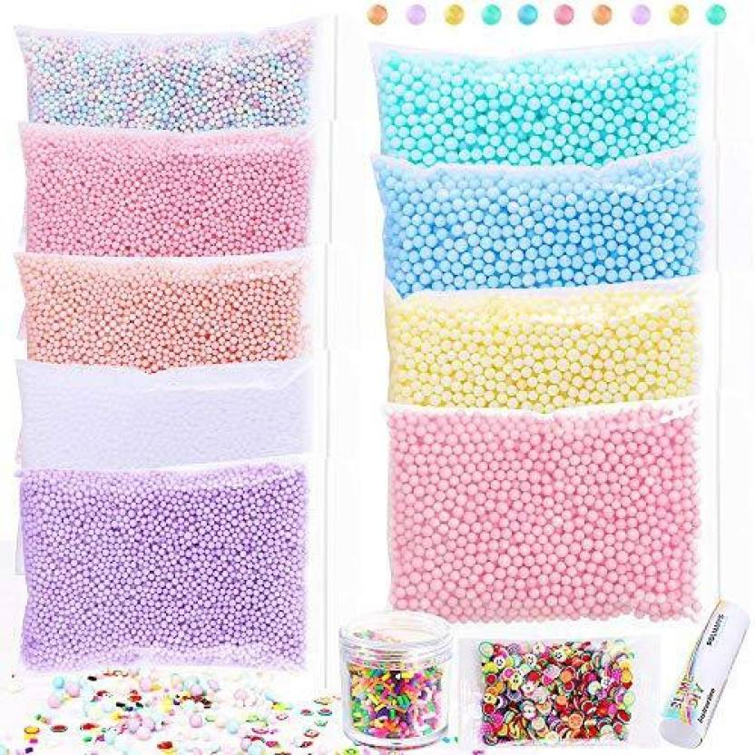 polmmys foam beads for slime and soft clay including chocolate