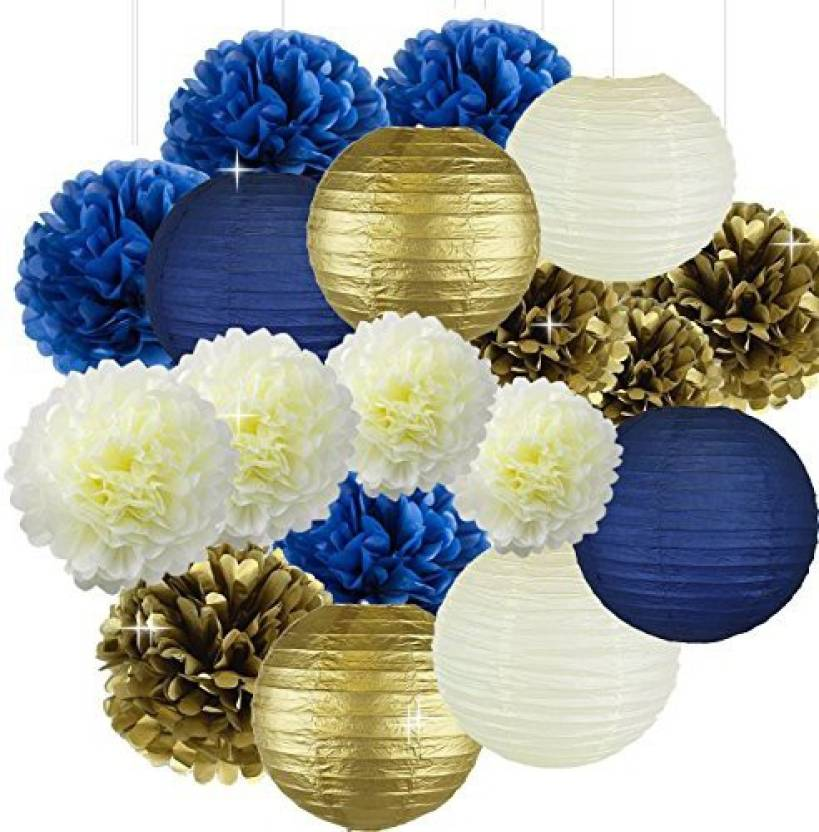 Sogorge Cream Navy Blue Gold 8inch 10inch Tissue Paper Pom Flowers Honeycomb Lanterns For Themed PartyP