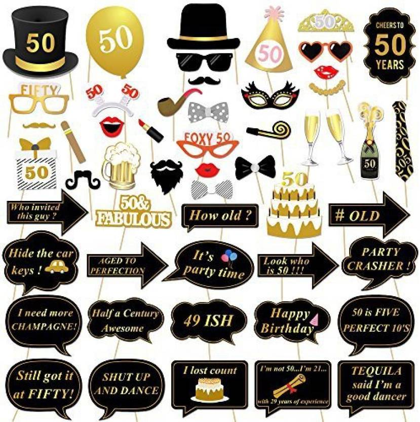 Konsait 50th Birthday Photo Booth Props 50 Black And Faux Gold Happy Decorations DIY Prop Kits With Stick