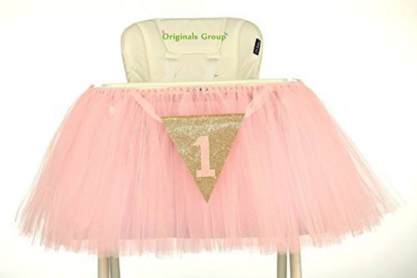 Originals Group 1st Birthday Baby Pink Tutu Skirt For High Chair Decoration Party Supplies